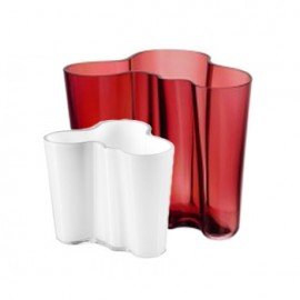 Aalto vaas 160 mm rood + gratis vaasje 95 mm wit