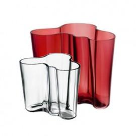 Aalto vaas 160 mm rood + gratis vaasje 95 mm helder