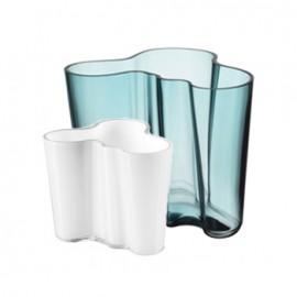 Aalto vaas 160 mm zeeblauw + gratis vaasje 95 mm wit