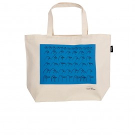 "Oiva Toikka collection ""Birdhouse blue"" canvas tas 50x38cm"