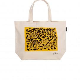 """Oiva Toikka collection """"Cheetah yellow"""" canvas tas 50x38cm"""