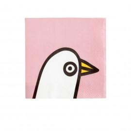 "Oiva Toikka collection ""Birdie pink"" servetten 33x33cm"